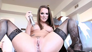 Lactating Clyster stunner Tori Dark-hued solo session