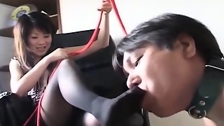 Subtitled Asian female domination sole fetish by fellow on a leash