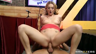 Naughty platinum-blonde beauty gets some help learning to sploog