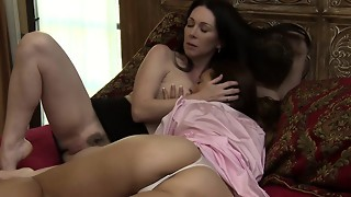 Bigtitted girl-on-girl tribbing and climaxing