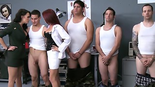 Big-boobed femdoms tugging throating and screwing