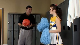 First-timer nubile cheerleader poked by coach