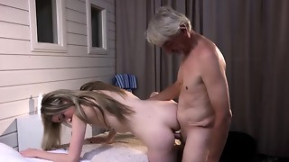 Naughty lean female gives grandfather utter glamour rubdown