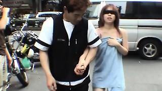 Subtitled extraordinary Chinese public exposure blindfold prank