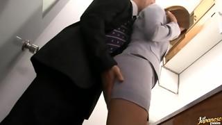 Haruki Sato gets fucked in her husband�s office