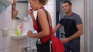 Doll in Crimson gets her bootie banged in Toilet. Drink