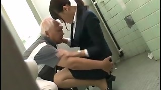 Asian Grandfather having joy with youthful dolls part 1