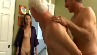 Grandfather s bisexous joy with junior duo