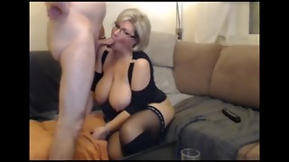 German blonde Plumper Mummy in stocking and shoes deep throats and ravages