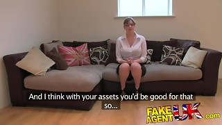 FakeAgentUK: First-timer Brit chick with yam-sized breasts gets numerous ejaculations