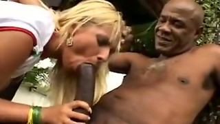 Latin blondie and Big black cock - Buttfuck outdoors
