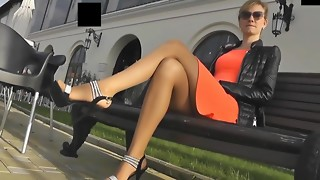 Public stockings footjob