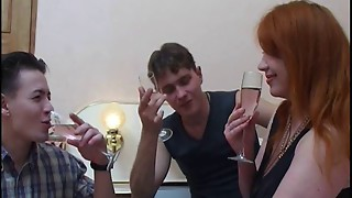 Senior russian red-haired nailed by 2 twinks