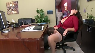 A big-titted thing that has a thick butt is getting banged in the office