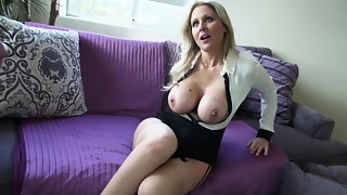 Cougar in a half-top and micro-skirt entices his meatpipe for scorching bang-out