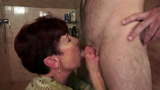 Elderly and youthfull movie by sissy man and older red-haired super-bitch