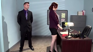A ginger-haired that has a furry cunt is getting humped in the office
