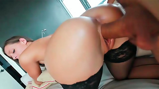 Jamie Jackson performing epic oral and getting boinked from behind.
