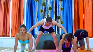 Superb culo yoga gals screwing in a sweat-soaked hard-core 4some