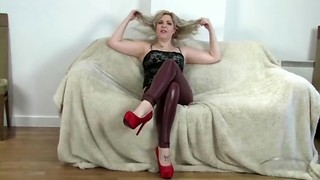 Skintight leather is so scorching on this muddy chatting ash-blonde